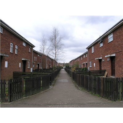 Two rows of Semi detached houses facing each other between Cosford and Andover Close with access only via communal pathway in between the two rows.