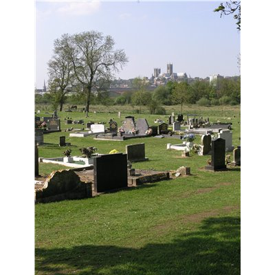 Views from Canwick New Cemetery across Cow Paddle towards the Cathedral