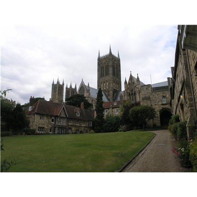 View of Lincoln Cathedral with Vicar's Court in the foreground.
