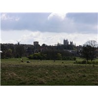 View of the north escarpment from West Common. Included in the view are the Lincoln Cathedral and The Water Tower.