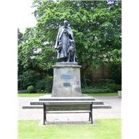 Statue of Alfred, Lord Tennyson located in the grounds of the Lincoln Cathedral